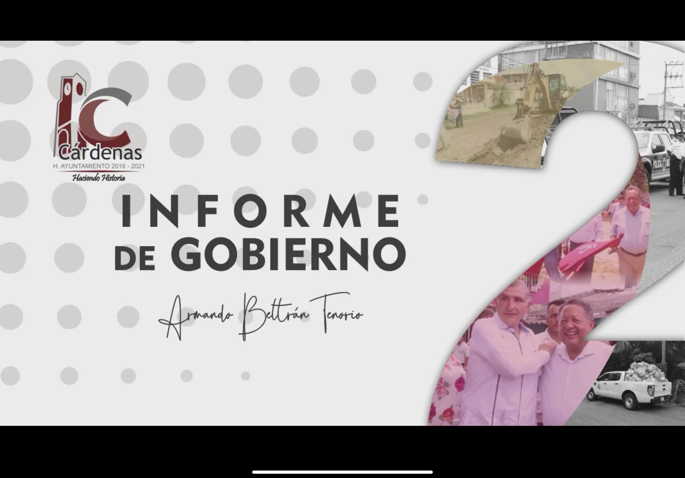 2DO Informe de Gobierno – Ayuntamiento de Cárdenas 2018-2021